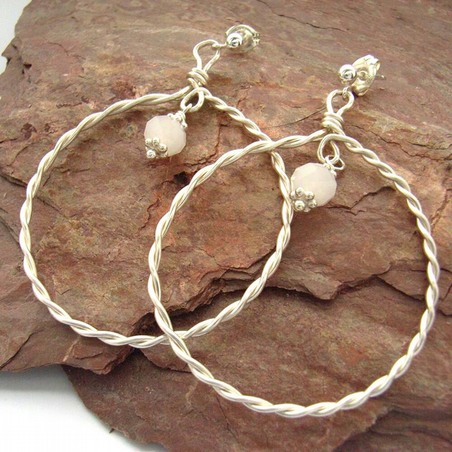 Earrings hoop silver twisted wire gemstone bead