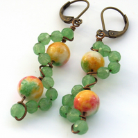 Bead earrings green gemstone