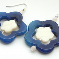 Flower earrings blue agate mother of pear sterling silver
