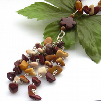 Necklace tassel mookaite chips