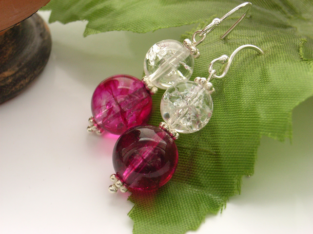 Pink bead earrings crackle clear quartz