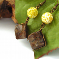 Wire work earrings yellow and brown