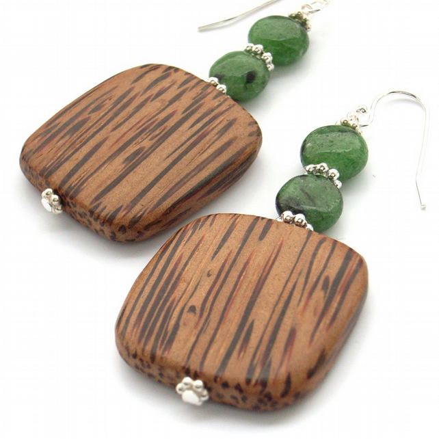 Wood and gemstone earrings