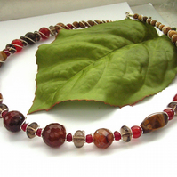 Necklace gemstone beads including smoky quartz
