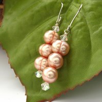Peach pearl earrings