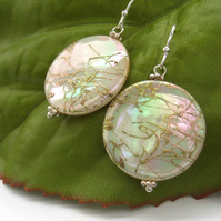 Earrings mother of pearl shell coin