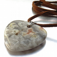 Pendant heart gemstone sterling silver cord necklace
