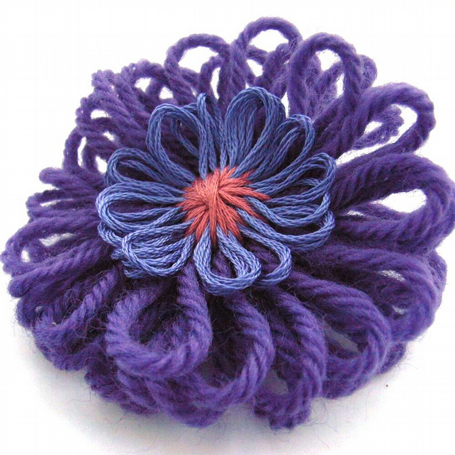 Purple flower corsage brooch