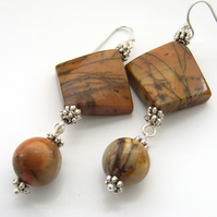 Red creek jasper gemstone earrings