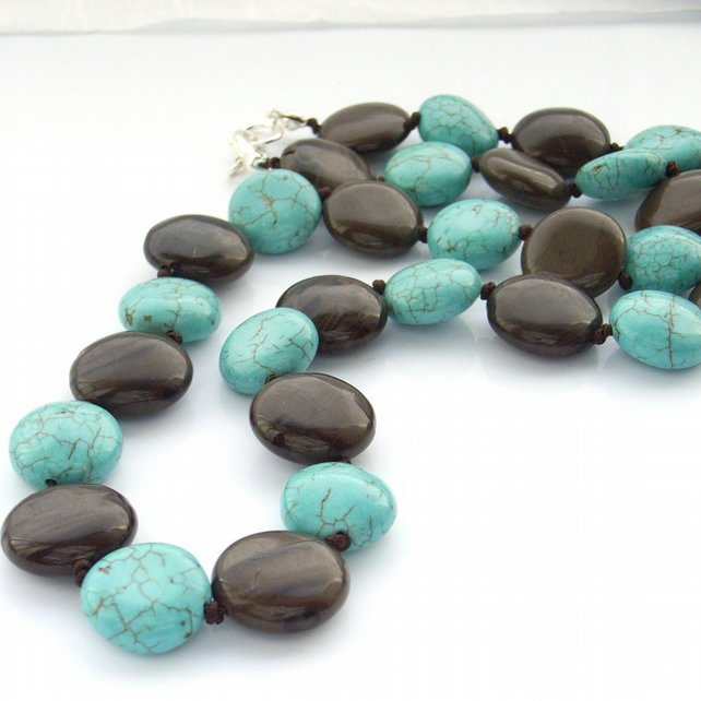 Coin bead necklace with turquoise and coffee jasper stones