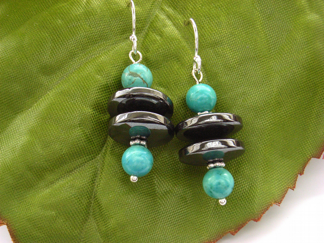 Turquoise earrings sterling silver