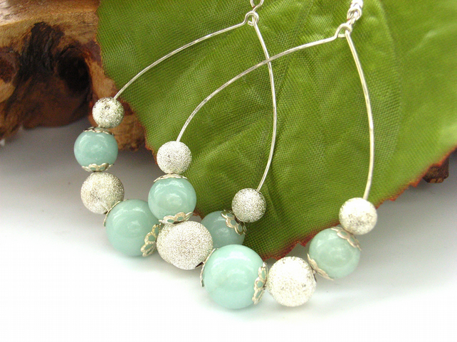 Amazonite earrings sterling silver