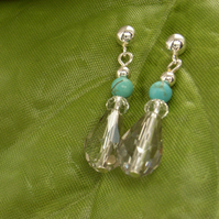 Crystal earrings sterling silver