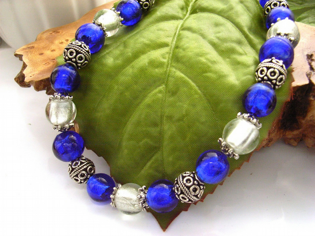 Bali bead style blue and silver statement necklace