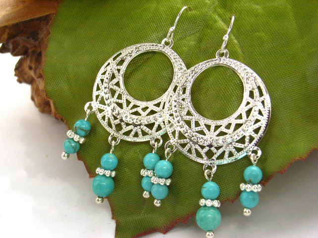 Turquoise howlite chandelier earrings