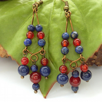 Lapis and carnelian chandelier earrings