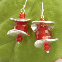 Red earrings sterling silver