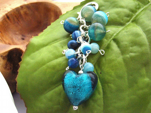 Bag charm Teal heart