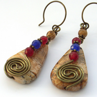 Earrings gemstone beads wire work
