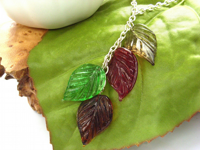 Autumn Leaves necklace glass silver tone chain