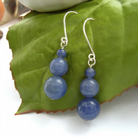 Denim blue aventurine earrings sterling silver