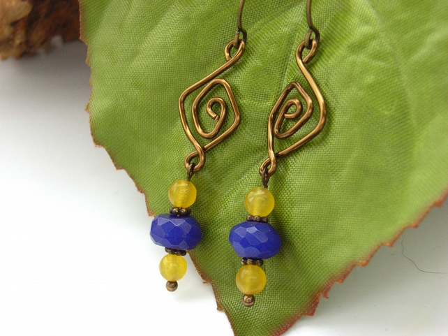 Earrings blue yellow beads vintage style wire work