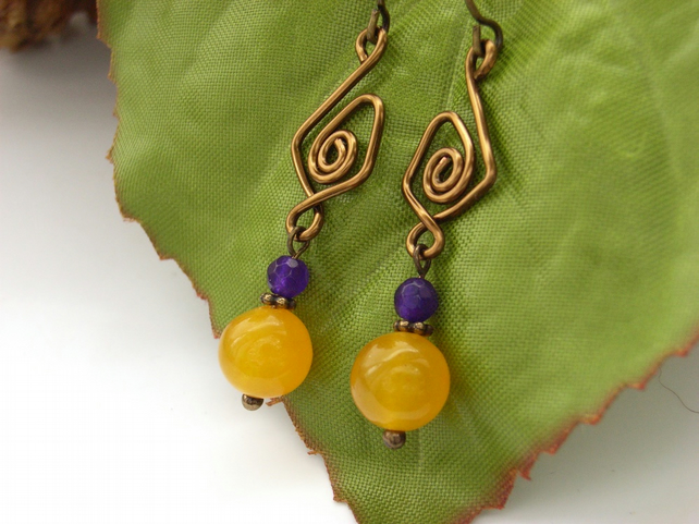 Yellow purple beaded earrings