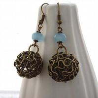 Wire ball and gemstone earrings