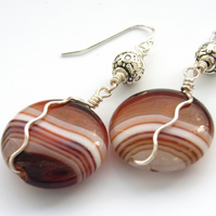 Coffee agate sterling silver earrings