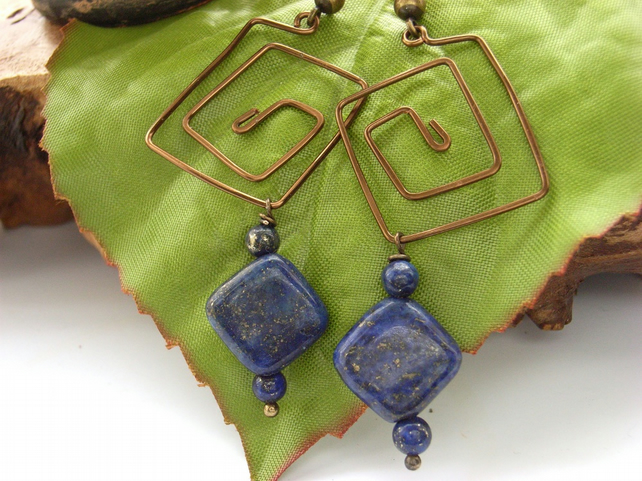 Stud earrings lapis lazuli bronze wire work