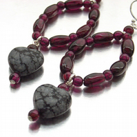 Heart earrings garnet obsidian sterling silver
