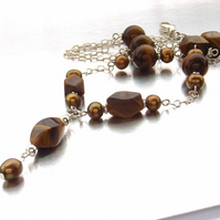 Pearl necklace tigers eye gemstone sterling silver