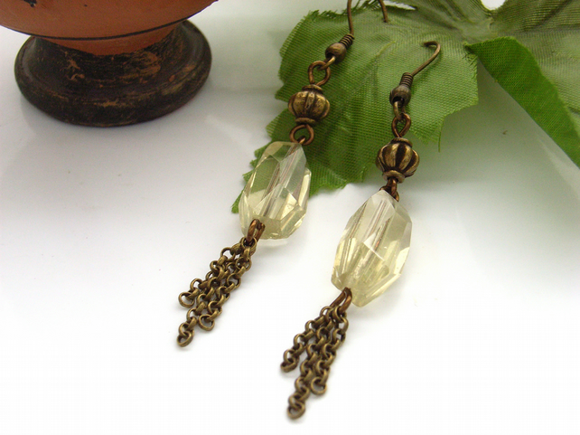 Earrings lemon quartz chain tassle vintage style