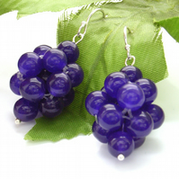 Purple quartzite beaded bead sterling silver earrings
