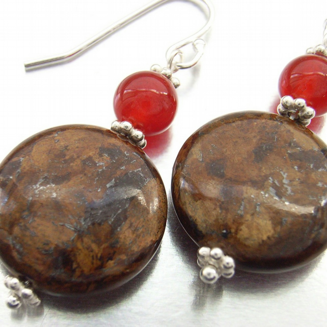 Coin gemstone earrings
