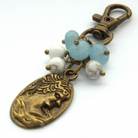 Handbag bag charm or purse charm steam punk vintage style cameo