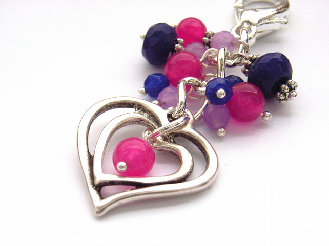 Heart bag charm pink and purple