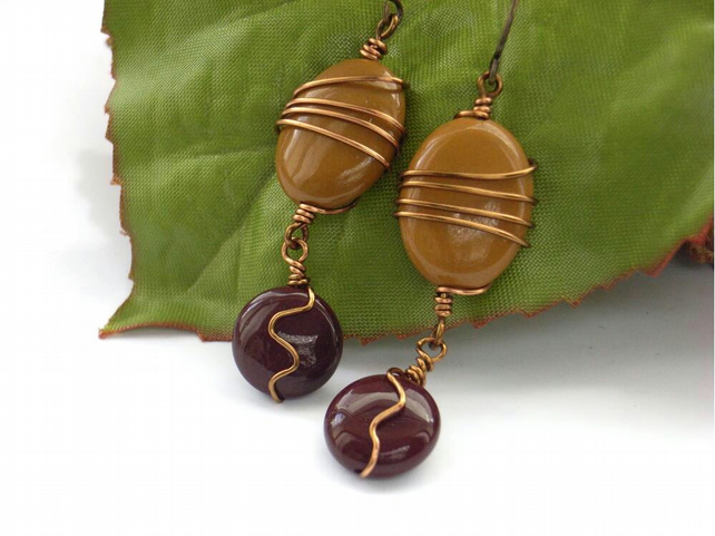 Mookite oval and coin bronze earrings