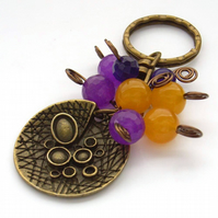 Steampunk circle bag charm key ring
