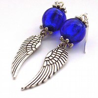 Wing charm earrings sterling silver