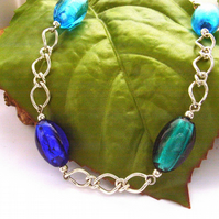 Necklace blue glass beads and chain 'Venice'