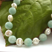 Necklace pearl amazonite sea green sterling silver