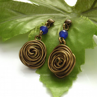 Wire rose earrings blue gemstone antique bronze