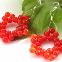 Red star bead earrings sterling silver