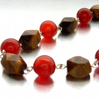 Tigers eye and carnelian necklace