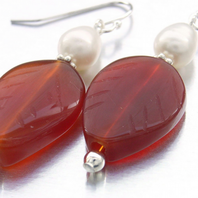 Autumn leaves Carnelian leaf and pearl earrings
