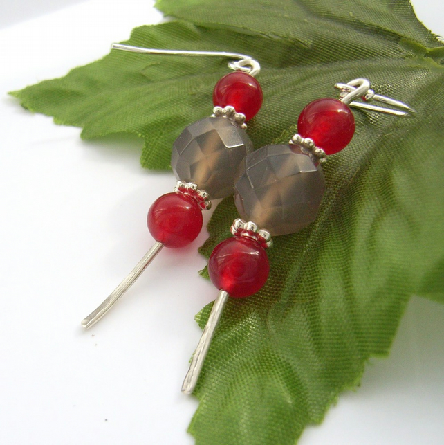 Sterling silver earrings grey agate red quartzite