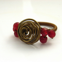 Rose ring antique bronze red beads