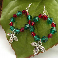 Holly berry earrings sterling silver