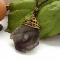Agate slab wire wrapped pendant